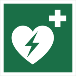 znak defibrylator (AED) piktogram bhp ewakuacyjny do ewakuacji fotoluminescencyjny świecący w ciemności bhp świadectwo cnbop pib iso 7010 zielony znak bezpieczeństwa