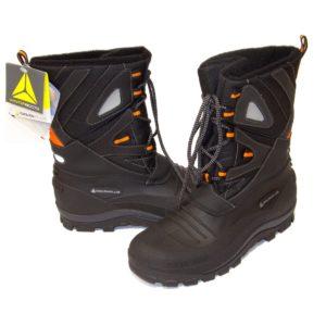 Trzewiki Ocieplane Delta Plus Lautaret 2 Śniegowce ocieplane robocze ciepłe buty na zimę do pracy wysokie trapery mocne sznurowane obuwie czarne z pomarańczowyym antypoślizgowe panoply deltaplus