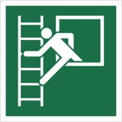 znak okno ewakuacyjne z drabiną ewakuacyjną piktogram bhp ewakuacyjny do ewakuacji fotoluminescencyjny świecący w ciemności bhp świadectwo cnbop pib iso 7010 zielony znak bezpieczeństwa