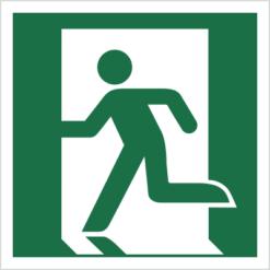 wyjście ewakuacyjne lewostronne znak ostrzegawczy ewakuacyjny bhp do ewakuacji symbole na budynki wewnętrzne fotoluminescencyjne odblaskowe świecące w ciemności oznakowanie budynków w lewo zielono białe nowa norma piktogram świadectwo cnbop pib iso 7010