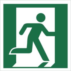 wyjście ewakuacyjne prawostronne znak ostrzegawczy ewakuacyjny bhp do ewakuacji symbole na budynki wewnętrzne fotoluminescencyjne odblaskowe świecące w ciemności oznakowanie budynków w prawo zielono białe nowa norma piktogram świadectwo cnbop pib świadectwo cnbop pib iso 7010