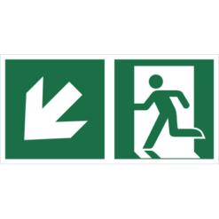 Znak wyjście ewakuacyjne ze strzałką w dół w lewo znak łączony połączony piktogram bhp ewakuacyjny do ewakuacji fotoluminescencyjny świecący w ciemności bhp świadectwo cnbop pib iso 7010 zielony znak bezpieczeństwa