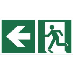 Znak Wyjście Ewakuacyjne ze Strzałką w Lewo znak łączony połączony piktogram bhp ewakuacyjny do ewakuacji fotoluminescencyjny świecący w ciemności bhp świadectwo cnbop pib iso 7010 zielony znak bezpieczeństwa
