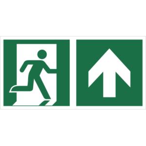 Znak Wyjście Ewakuacyjne ze Strzałką w górę prawostronny znak łączony połączony piktogram bhp ewakuacyjny do ewakuacji fotoluminescencyjny świecący w ciemności bhp świadectwo cnbop pib iso 7010 zielony znak bezpieczeństwa