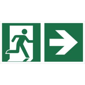 Znak Wyjście Ewakuacyjne ze Strzałką w Prawo znak łączony połączony piktogram bhp ewakuacyjny do ewakuacji fotoluminescencyjny świecący w ciemności bhp świadectwo cnbop pib iso 7010 zielony znak bezpieczeństwa