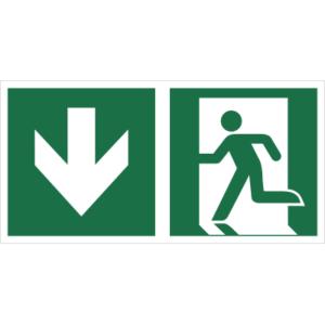 Znak Wyjście Ewakuacyjne ze Strzałką w dół lewostronny znak łączony połączony piktogram bhp ewakuacyjny do ewakuacji fotoluminescencyjny świecący w ciemności bhp świadectwo cnbop pib iso 7010 zielony znak bezpieczeństwa