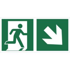 Znak wyjście ewakuacyjne ze strzałką w dół w prawo znak łączony połączony piktogram bhp ewakuacyjny do ewakuacji fotoluminescencyjny świecący w ciemności bhp świadectwo cnbop pib iso 7010 zielony znak bezpieczeństwa