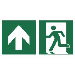 Znak Wyjście Ewakuacyjne ze Strzałką w górę lewostronny znak łączony połączony piktogram bhp ewakuacyjny do ewakuacji fotoluminescencyjny świecący w ciemności bhp świadectwo cnbop pib iso 7010 zielony znak bezpieczeństwa