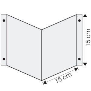 Wysięgnik wewnętrzny podwójny ścienny 15x15cm do zawieszenia piktogramu ewakuacyjny mocny na śruby do ściany mleczny biały nośnik gięty znak 3d