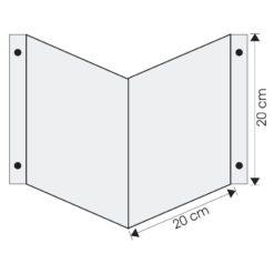 Wysięgnik wewnętrzny podwójny ścienny 20x20cm do zawieszenia piktogramu ewakuacyjny mocny na śruby do ściany mleczny biały nośnik gięty znak 3d