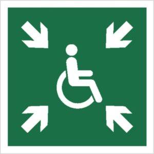 Znak miejsce zbiórki dla inwalidów piktogram bhp ewakuacyjny do ewakuacji fotoluminescencyjny świecący w ciemności bhp świadectwo cnbop pib iso 7010 zielony znak bezpieczeństwa