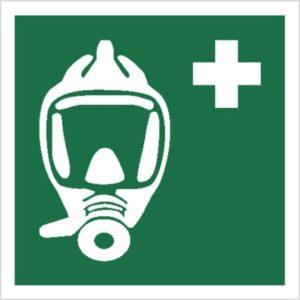 znak maska ucieczkowa piktogram bhp ewakuacyjny do ewakuacji fotoluminescencyjny świecący w ciemności bhp świadectwo cnbop pib iso 7010 zielony znak bezpieczeństwa