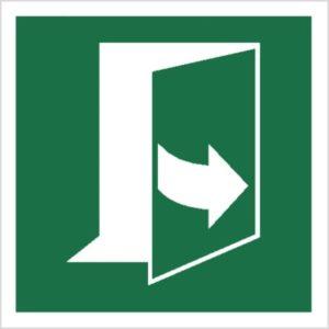 Znak ciągnąć z lewej strony, aby otworzyć piktogram bhp ewakuacyjny do ewakuacji fotoluminescencyjny świecący w ciemności bhp świadectwo cnbop pib iso 7010 zielony znak bezpieczeństwa