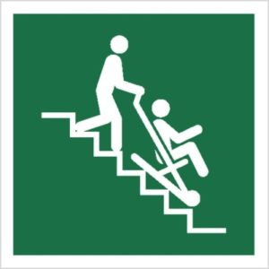 znak krzesło ewakuacyjne piktogram bhp ewakuacyjny do ewakuacji fotoluminescencyjny świecący w ciemności bhp świadectwo cnbop pib iso 7010 zielony znak bezpieczeństwa