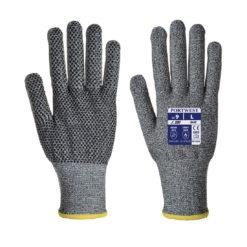 Rękawice antyprzecięciowe Portwest A640 SABRE-DOT nakrapiane mocne do pracy ochronne rękawiczki odporne na przecięcia szare włókno szklane hppe z nakropieniem PVC