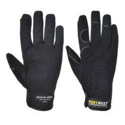 Rękawice monterskie Portwest A700 GENERAL UTILITY rękawiczki warsztatowe monterskie na rzep mocne skórkowe skórzane manualne lekkie czarne