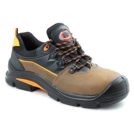 Półbuty robocze BEARFIELD K09 S3 SRC Metal Free buty bezpieczne obuwie ochronne do pracy z blachą z podnoskiem wytrzymałe skórkowe skórzane dla brukarzy s3 antypoślizgowe src wytrzymałe brązowe czarne