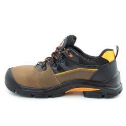 Półbuty robocze BEARFIELD K09 S3 SRC Metal Free buty bezpieczne obuwie ochronne do pracy z blachą z podnoskiem wytrzymałe skórkowe skórzane dla brukarzy s3 antypoślizgowe src wytrzymałe brązowe czarne z boku