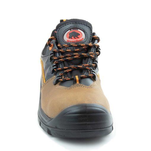 Półbuty robocze BEARFIELD K09 S3 SRC Metal Free buty bezpieczne obuwie ochronne do pracy z blachą z podnoskiem wytrzymałe skórkowe skórzane dla brukarzy s3 antypoślizgowe src wytrzymałe brązowe czarne z przodu