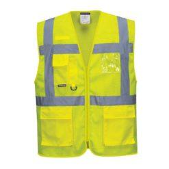 Siatkowa kamizelka ostrzegawcza Portwest C376 Executive Atena lekka przewiewna narzutka odblaskowa drogowa z odblaskami siateczkowa z kieszeniami iso 20471 klasa 2 odzież ochronna robocza sklep bhp żółta przód