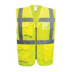 Kamizelka Ostrzegawcza Portwest C494 - do połowy siatkowa narzutka odblaskowa z odblaskami drogowa dla drogowców żółta pół siatkowana miejsce na id 1 klasa 471 przewiewna robocza ochronna odzież ubrania bhp z kieszeniami mocna żółta