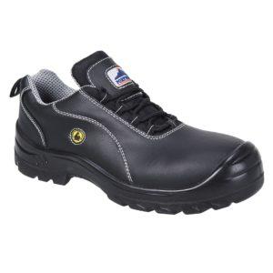Półbuty skórzane Portwest FC02 antystatyczne antyelektrostatyczne obuwie ochronne robocze buty bezpieczne s1 z podnoskiem kompozytowym czarne antypoślizgowe