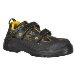 Sandały ESD Portwest FC04 S1P Compositelite Tagus czarne sandałki na rzep robocze ochronne do pracy z blachą z podnoskiem kompozytowym wkładka antyprzebiciowa elektryczność statyczna antystatyczne antyelektrostatyczne czarne żółte