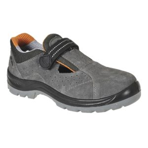 Sandały ochronne Portwest FW42 Steelite Obra S1 sandałki do pracy buty odkryte robocze ochronne z blachą z podnoskiem stalowym zamszowe na klamre wentylowane bezpieczne zawodowe do sklepu obuwie bhp szare