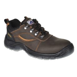 Półbuty ochronne Portwest FW59 STEELITE MUSTANG S3 trzewiki skórzane skórkowe z blachą z podnoskiem stalowym do pracy ochronne robocze buty obuwie bhp sklep bhp odzież robocza brązowe