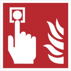 znak alarm pożarowy przycisk alarmowy piktogram bezpieczeństwa przeciwpożarowy oznakowanie iso 7010 bezpieczeństwa pożarowego czerwone fotoluminescencyjne płyta pvc folia naklejka