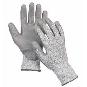 Rękawice antyprzecięciowe Cerva STINT antyprzecięciowe odporne na przebicie przecięcie mocne dziane bezszwowe szare białe wytrzymałe powlekane pu