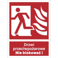 Znak Drzwi Przeciwpożarowe Nie Blokować (W Lewo) piktogram bezpieczeństwa przeciwpożarowy oznakowanie bezpieczeństwa pożarowego czerwone fotoluminescencyjne płyta pvc folia naklejka sklep bhp