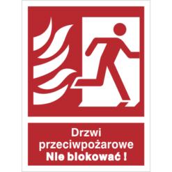 Znak Drzwi Przeciwpożarowe Nie Blokować (W Prawo) piktogram bezpieczeństwa przeciwpożarowy oznakowanie bezpieczeństwa pożarowego czerwone fotoluminescencyjne płyta pvc folia naklejka sklep bhp