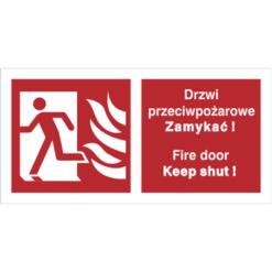 Znak Drzwi Przeciwpożarowe Zamykać (W Lewo) PL/ENG piktogram bezpieczeństwa przeciwpożarowy oznakowanie bezpieczeństwa pożarowego czerwone fotoluminescencyjne płyta pvc folia naklejka sklep bhp