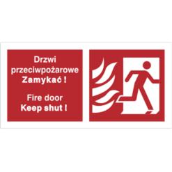 Znak Drzwi Przeciwpożarowe Zamykać (W Prawo) PL/ENG piktogram bezpieczeństwa przeciwpożarowy oznakowanie bezpieczeństwa pożarowego czerwone fotoluminescencyjne płyta pvc folia naklejka sklep bhp