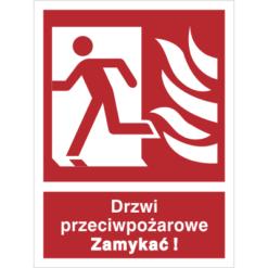 Znak Drzwi Pożarowe Zamykać (w lewo) piktogram bezpieczeństwa przeciwpożarowy oznakowanie bezpieczeństwa pożarowego czerwone fotoluminescencyjne płyta pvc folia naklejka