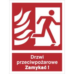 Znak Drzwi Pożarowe Zamykać (w prawo) piktogram bezpieczeństwa przeciwpożarowy oznakowanie bezpieczeństwa pożarowego czerwone fotoluminescencyjne płyta pvc folia naklejka