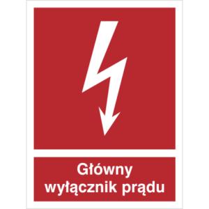 Znak Wyłącznik Prądu piktogram bezpieczeństwa przeciwpożarowy oznakowanie bezpieczeństwa pożarowego czerwone fotoluminescencyjne płyta pvc folia naklejka sklep bhp