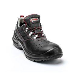 Półbuty ochronne Panda IZOTTA S1P SRC obuwie bezpieczne do pracy robocze buty skórzane skórkowe z blachą z podnoskiem antyprzebiciowe z wkładką czarne klasyczne sklep bhp