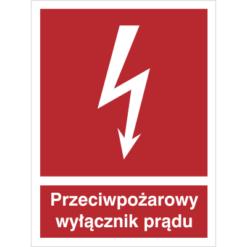 Znak przeciwpożarowy wyłącznik prądu piktogram bezpieczeństwa przeciwpożarowy oznakowanie bezpieczeństwa pożarowego czerwone fotoluminescencyjne płyta pvc folia naklejka
