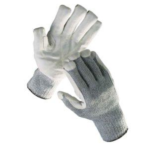 Rękawice antyprzecięciowe Cerva CROPPER STRONG odporne na przecięcie wytrzymałe mocne ochronne robocze rękawiczki sklep bhp dziane szare włókno szklane spandex skóra skórkowe wzmocnione