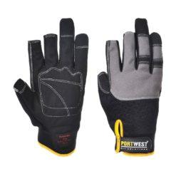 Rękawice monterskie Portwest A740 POWERTOOL PRO rękawiczki ochronne skórkowe monterskie 2 palcowe odkryte palce na rzep neopren guma czarne szare żółte warsztatowe