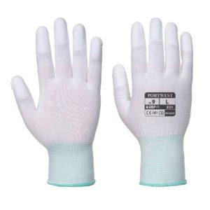 Rękawice nylonowe Portwest A121 z palcami powlekanymi PU rękawiczki dzianinowe robocze ochronne bhp do pracy z palcami powlekanymi poliuretan pu białe