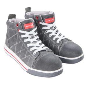 Trzewiki ochronne Lahti PRO L30108 SB FO SRA trampki pepegi do pracy ochronne robocze buty z podnoskiem z blachą zamszowe skórkowe za kostkę adidasy oba buty z profilu szare
