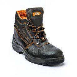 Trzewiki ochronne Panda ERGON ALFA O1 S1 SRC bezpieczne wysokie zawodowe robocze buty z blachą z podnoskiem skórkowe skórzane czarne oddychające pomarańczowe sklep bhp