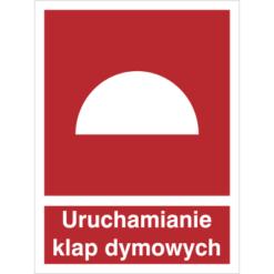 Znak Uruchamianie Klap Dymowych piktogram bezpieczeństwa przeciwpożarowy oznakowanie bezpieczeństwa pożarowego czerwone fotoluminescencyjne płyta pvc folia naklejka sklep bhp