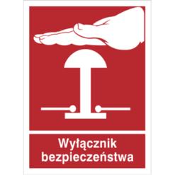 Znak Wyłącznik Bezpieczeństwa piktogram bezpieczeństwa przeciwpożarowy oznakowanie bezpieczeństwa pożarowego czerwone fotoluminescencyjne płyta pvc folia naklejka sklep bhp