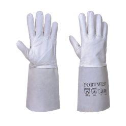 Rękawice spawalnicze Portwest A520 Premium rękawiczki ochronne robocze do pracy dla spawacza mocne wzmacniane skórkowe kozia dwoina tig typ b długi mankiet białe szare odzież ochronna odzież robocza sklep bhp