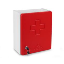 Apteczka Swing-Med MF Czerwona DIN 13164+ustnik Płyta MDF zestaw pierwszej pomocy przedmedycznej do firmy do szkoły do biura biurowa przemysłowa w szafce z płyty meblowej biało czerwona na kluczyk z wyposażeniem biało czerwona zamknięta wkład din