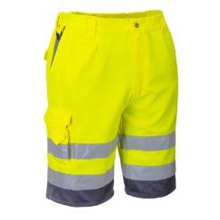 Szorty Ostrzegawcze Portwest E043 2 kolory spodnie robocze ochronne do pracy ciuchy bermudy krótkie spodnie na lato do kolan odzież robocza drogowa dla drogowców z odblaskami dwukolorowe szlufki sklep bhp żółte